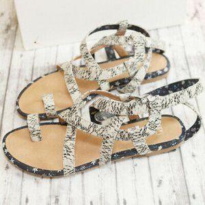 Cabi Athena Gladiator Sandals Snake Print Leather